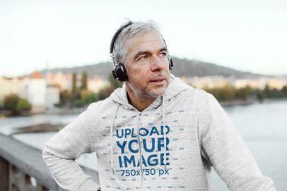 Full-Zip Hoodie Mockup of a Man with Headphones by the Bay  39030-r-el2
