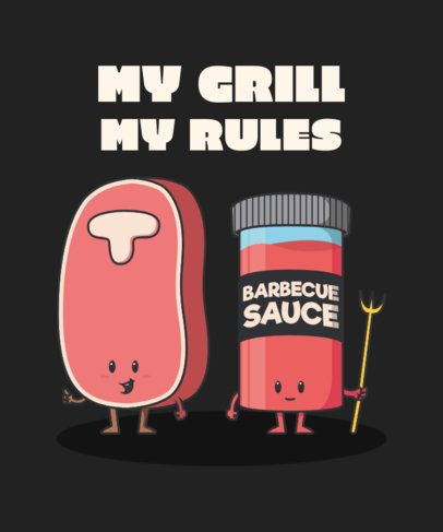 T-Shirt Design Maker Featuring Cartoonish Characters for a BBQ-Enthusiast 2190h-el1