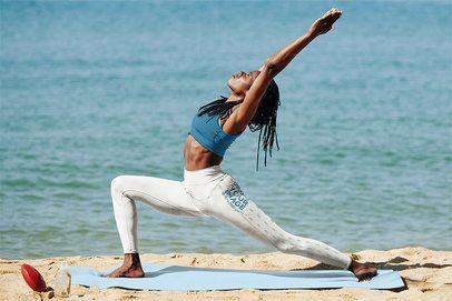 Leggings Mockup of a Woman Practicing Yoga by the Ocean 38435-r-el2
