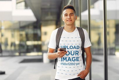 T-Shirt Mockup Featuring a Student at a College Campus 39177-r-el2