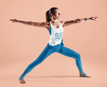 Mockup of a Woman Wearing a Scoop Neck Tank Top to Do Yoga 38361-r-el2