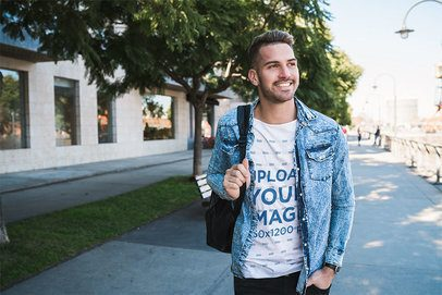 T-Shirt Mockup of a young Man Walking to College 39119-r-el2