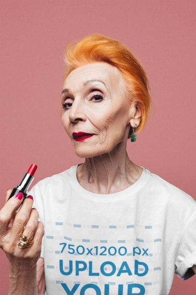 T-Shirt Mockup of a Senior Woman Holding a Lipstick 39060-r-el2