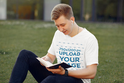 T-Shirt Mockup of a Young Student Reading in a Park 39176-r-el2
