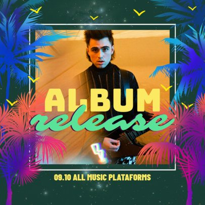 Instagram Post Generator for an Album Release Featuring Neon Palm Trees 2719i
