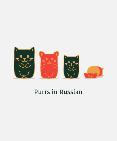 T-Shirt Design Creator Featuring Matryoshka Kitties 2102e-el1