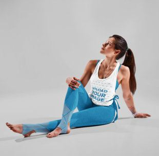 Tank Top Mockup Featuring a Woman Sitting on the Floor 38365-r-el2