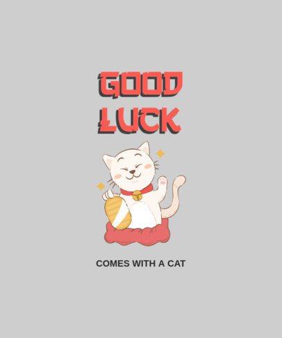 Cartoonish T-Shirt Design Template Featuring a Lucky Cat 2176c-el1