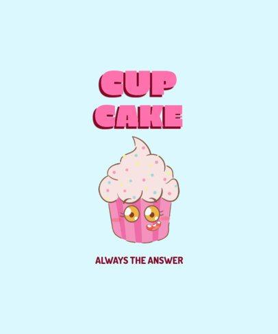 Foodie T-Shirt Design Creator Featuring a Cupcake 2176d-el1