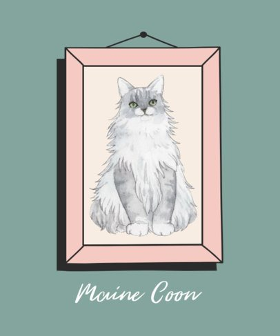 Cat T-Shirt Design Creator Featuring a Maine Coon 2117a-el1