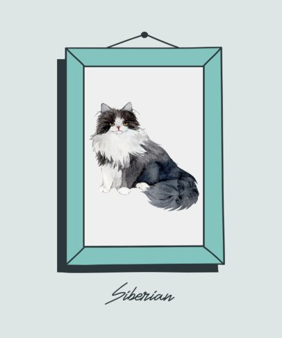 Illustrated T-Shirt Design Template Featuring a Siberian Cat 2117d-el1