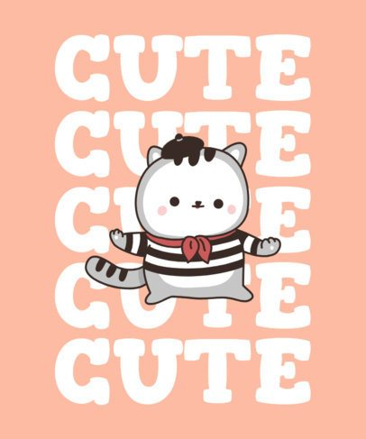 Cute T-Shirt Design Creator with a Mime Cat Illustration 2715d