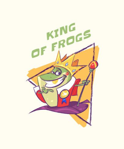 T-Shirt Design Template with Fun Illustrations of Frog Kings 2168-el1