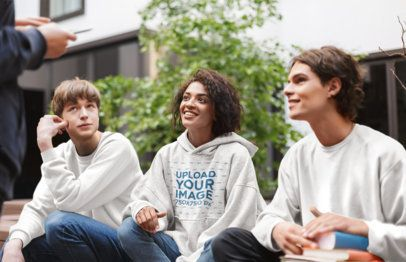 Heather Hoodie Mockup of a Young Woman Hanging Out With Her Friends 39171-r-el2