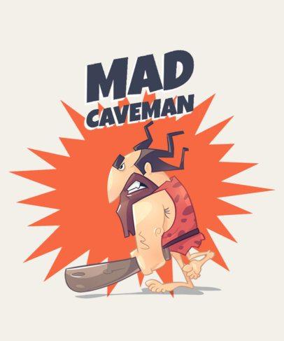 T-Shirt Design Maker Featuring a Cartoon of a Mad Caveman 2167b-el1