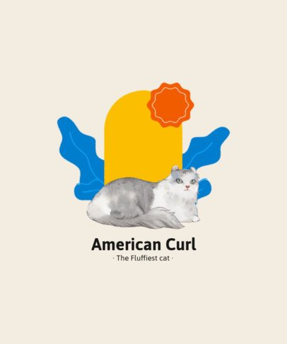 T-Shirt Design Generator Featuring a Watercolor Painting of an American Curl Cat 2113e-el1