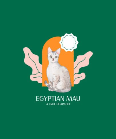 T-Shirt Design Creator Featuring an Egyptian Cat Graphic 2113b-el1