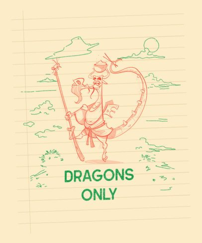 Original T-Shirt Design Maker with a Sketch of a Dragon on a Notebook 2173c-el1