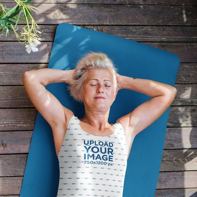 Sublimated Tank Top Mockup of a Senior Woman Lying on Her Back 39365-r-el2