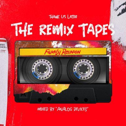 Bold Album Cover Design Template Featuring a Cassette Graphic 2713e