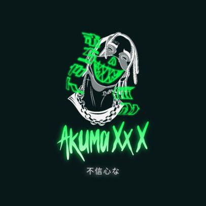 Trap Metal Logo Creator with Neon Japanese Kanjis 3454b