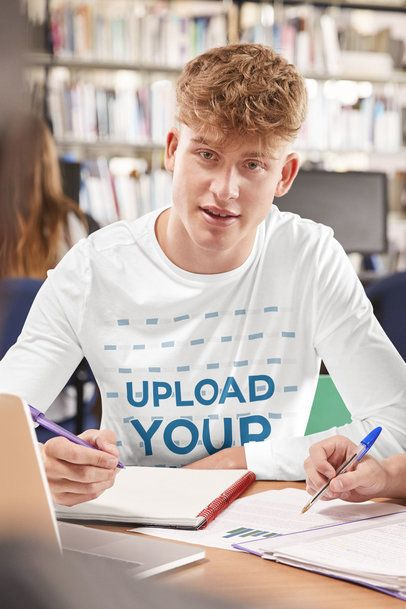 Long Sleeve Tee Mockup of a Young Man in a Study Group at a Library 39185-r-el2