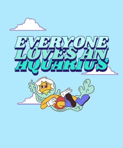 Zodiac T-Shirt Design Generator with an Aquarius Character 2723b