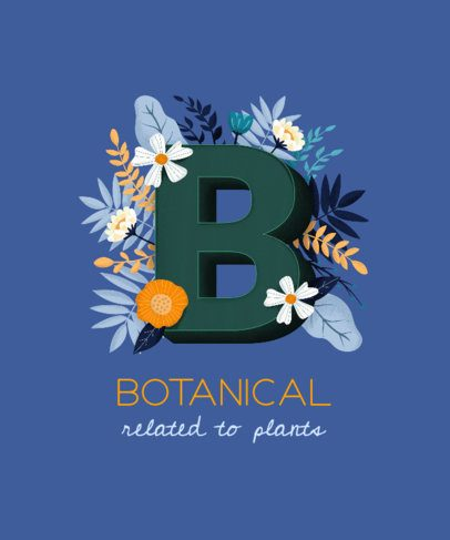T-Shirt Design Template Featuring a Capital Letter with Floral Styling 2724i