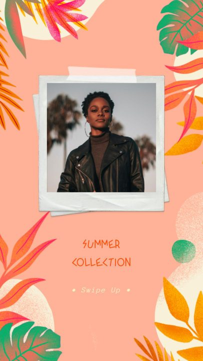 Instagram Story Creator for a Summer Apparel Collection with Botanical Frames 2718a