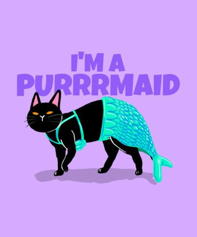 Funny T-Shirt Design Creator Featuring a Cat in a Mermaid Costume 2714a