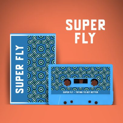 Retro Album Cover Creator Featuring a Cassette with a Monochromatic Pattern 2712f