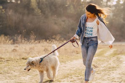 Mockup of a Woman with a Tank Top Walking in Nature with a Dog 39429-r-el2