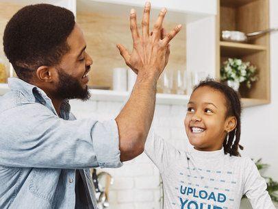Long Sleeve Tee Mockup of a Joyful Girl Giving Her Dad a High-Five 39245-r-el2