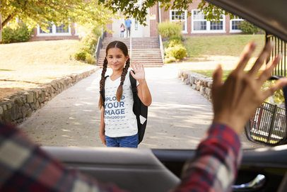 T-Shirt Mockup of a Girl with Braids Waving Goodbye 39096-r-el2