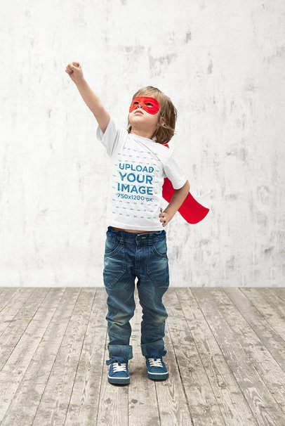 T-Shirt Mockup of a Boy Doing a Superhero Pose 39398-r-el2