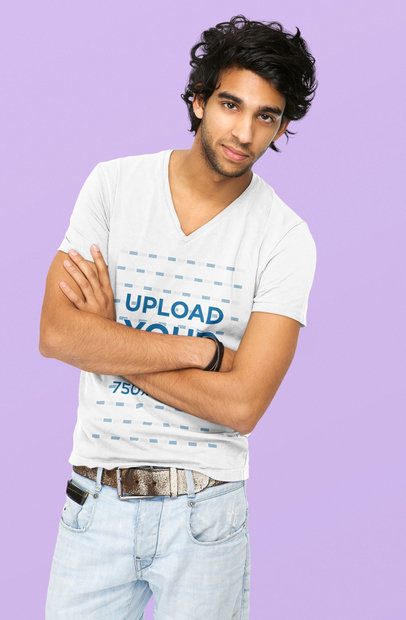 V-Neck T-Shirt Mockup Featuring a Serious Man Posing With His Arms Crossed 39511-r-el2