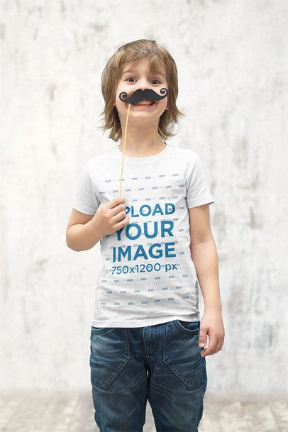 T-Shirt Mockup of a Little Kid with a Fake Mustache 39401-r-el2