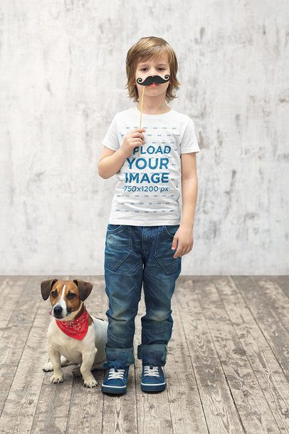 T-Shirt Mockup of a Boy Wearing a Fake Mustache 39400-r-el2