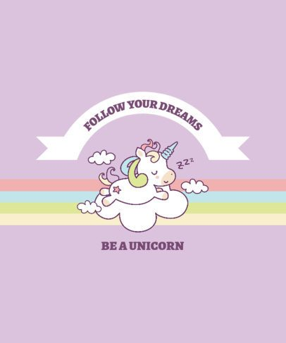 T-Shirt Design Generator Featuring Adorable Unicorns 2222-el1