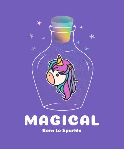 T-Shirt Design Generator Featuring a Magical Bottle and a Cute Unicorn 2210e-el1