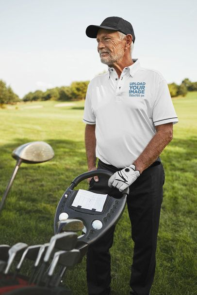Polo Shirt Mockup of a Senior Man Playing Golf 39484-r-el2