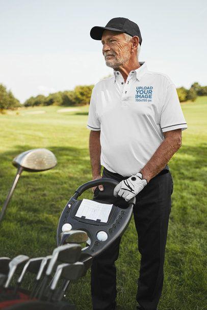 Polo Shirt Mockup of a Senior Man Playing Golf 39484-r-el2