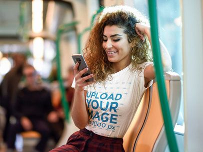 Mockup of a Woman with a Tee Checking Her Phone in the Subway 38221-r-el2