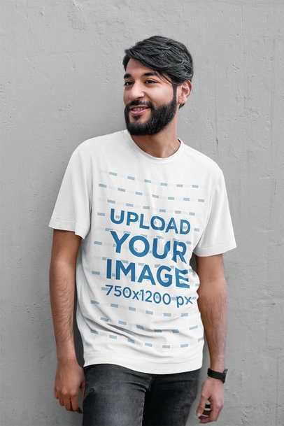 Mockup of a Bearded Man Wearing a Slouchy T-Shirt 39349-r-el2