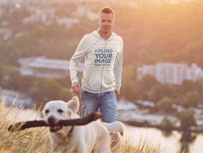 Heather Full-Zip Hoodie Mockup of a Man Playing with His Dog 39070-r-el2