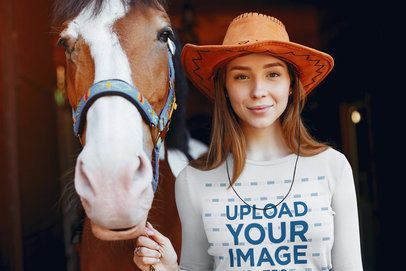 Long Sleeve Tee Mockup Featuring a Woman and Her Horse 39112-r-el2