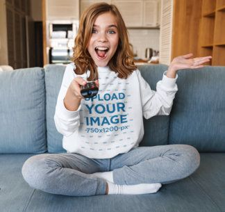 Sweatshirt Mockup of a Girl Watching TV 39407-r-el2