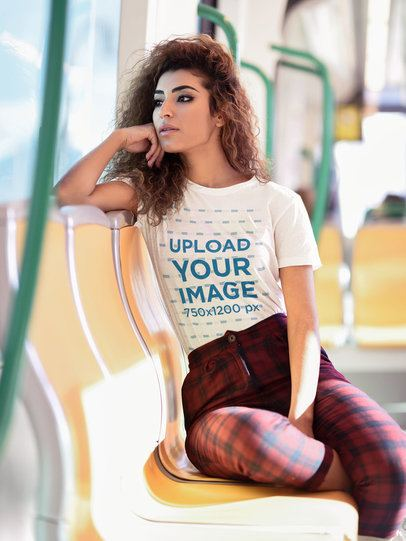 T-Shirt Mockup of a Young Woman in the Subway 37629-r-el2
