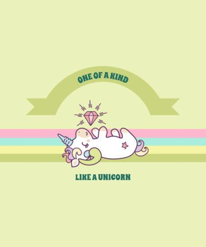 Colorful T-Shirt Design Template with a Unicorn Quote 2222b-el1