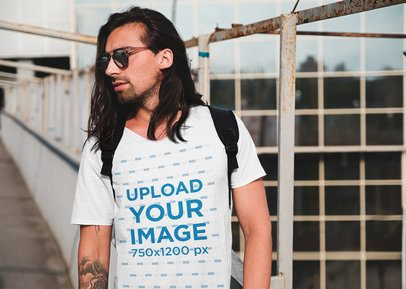 T-Shirt Mockup of a Long-Haired Hipster Man in an Urban Scenario 38252-r-el2